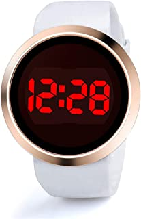 MERSDW Men's And Women's Fashion Watches LED Digital Electronic Watch Round Touch Screen Rose Gold Case Silicone Strap Wrist Watch (White)