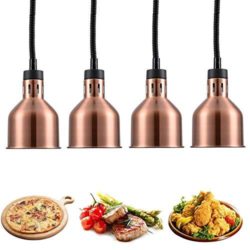 PIVFEDQX Gewerblicher Wärmelampen-Speisenwärmer, Buffet-Kronleuchter mit Heizlampen-Glühbirnen 250-W-Isolierlampe für Lebensmittel, Speisen- und Geschirrwärmer, 170 mm-110 V rotes Kupfer