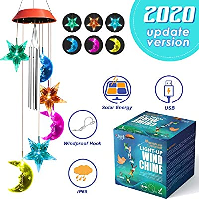JOYXEON Wind Chimes Outdoor?2020 Updated Version¡? Solar Moon Star Wind Chimes with 3 Tuned Tubes Color Changing LED Mobile USB & Solar Moon Star Lights with Anti-Fall Hook as Night Garden Decor