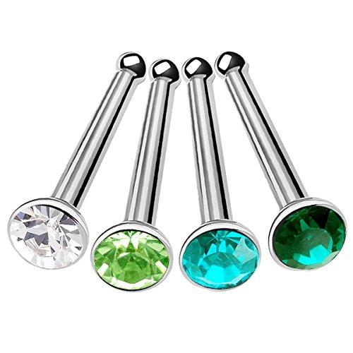 bodyjewelrytrend 4 Stück 0,8mm nasenstecker gerade nasenpiercing stecker Piercing nasen chirurgenstahl Nase Set A1SCJ - CR BZ PE ER