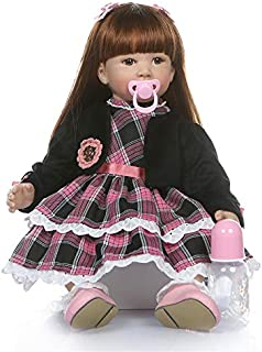 Binxing Toys 24 inch Real Life Like Reborn Toddler Girl Doll with Clothes, Long Hair Baby Doll Mu�eca Renacida (Lifelike Baby with Black Coat)