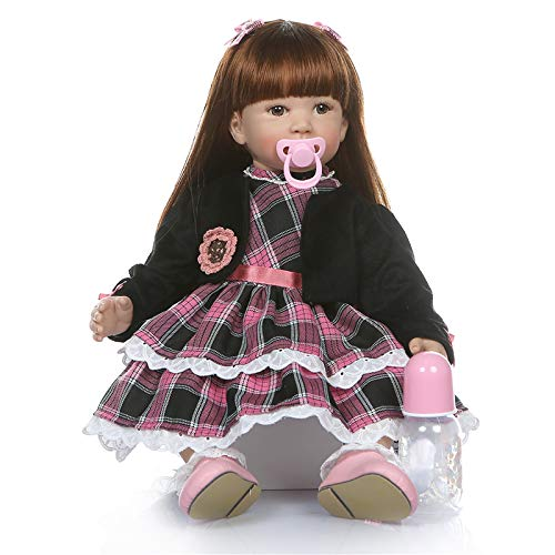 Binxing Toys 24 inch Real Life Like Reborn Toddler Girl Doll with Clothes, Long Hair Baby Doll Muñeca Renacida (Lifelike Baby with Black Coat)