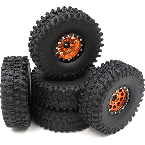 5pcs RC 1.9 Super Swamper Crawler Tires Tyre Height (OD) 120mm & Aluminum 1.9 Beadlock Wheel Rim Hex 12mm Black Orange