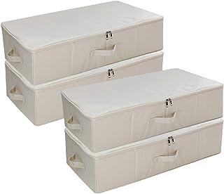 SimpleHome 4er Beige Sac de Rangement sous lit en Tissu, boîtes de Rangement sous Le lit Plat et Pliable pour Les draps, L...