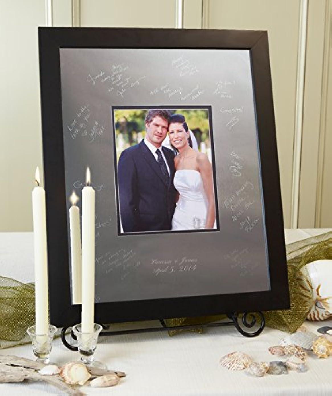 Signature Keepsakes Frame Engravable Signature Mat Guest Book, Large, Silver/Black