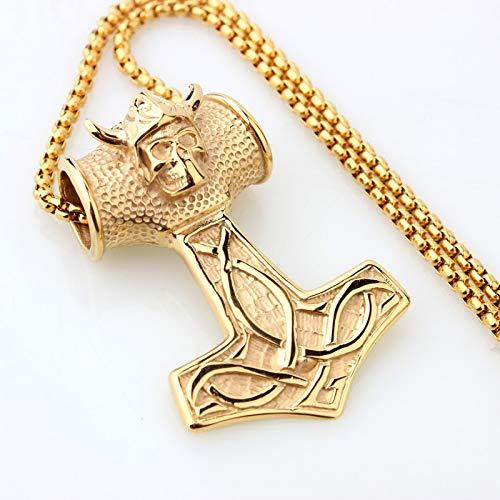 Nordic Viking Thor Hammer Schädel Anhänger 24'Edelstahl Persönlichkeit Rune Halskette,Gold