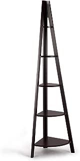 Giantex 5-Tier Corner Bookcase Ladder Bookshelf Plant Stand Home Office Furniture Fan-Shape Shelves Corner Storage Rack High Display Shelf (Brown)
