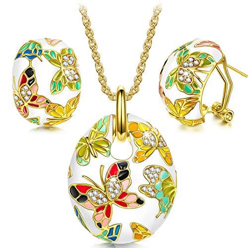 Kami Idea San Valentin Regalos Mujer Conjunto de Joyas Collar Pendientes Esmalte Mariposa Cristales Preciosa Austriacos Regalos de Madres Joyeria para Aniversario Cumpleaños Mamá Chicas Dama Abuela