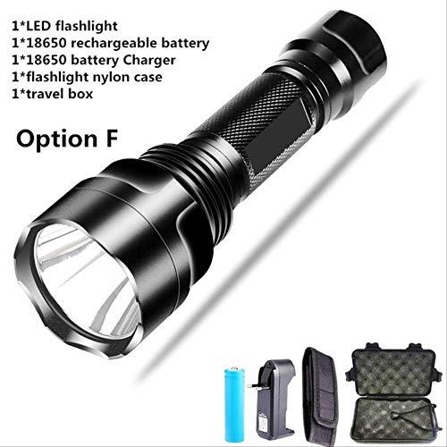 DBSCD Lampe de Poche de Camping 10000 lumens, Lampe de Poche LED Lumineuse Lampe de Poche étanche Rechargeable par 1 * 18650 pour T6-8000 Lumen A2P