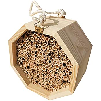 Shumo Handmade Natural Bamboo Bee Hive Mason Bee House Attracts Peaceful Bee Pollinators for The Garden