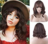 BERON 14'' Short Curly Women Girl's Charming Synthetic Wig with Bangs Wig Cap Included (Deep Brown)
