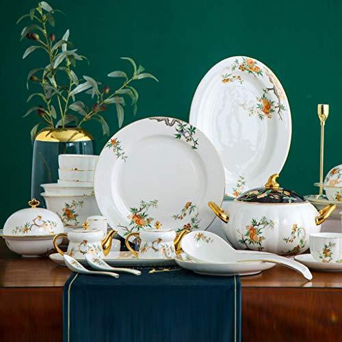 GAXQFEI Ceramica Cena Assortimenti, 87 Pezzi Bone China Dinnerware Set | Piatto/Ciotola/Pot Della Minestra - Disegnato a...