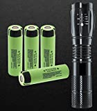 LED Flashlight Set With 4x 18650 NCR18650B Flat top Rechargeable Battery, 3400mAh Made in Japan for Video doorbell, USB Fan, Power Bank etc