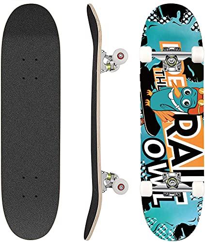 Hikole Skateboard Completo in Legno 79x20 cm in Acero Canadese 31 Pollici, Ruote 85A per Principianti Bambini e Adulti (Colore_9)