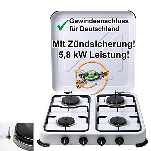 CAGO Campingkocher Gaskocher 4-flammig mit Zündsicherung | inkl. Gasschlauch und Gasregler mit 360°-Manometer Gas Füllstandsanzeige und Schlauchbruchsicherung | Propangas Kochfeld 2 3