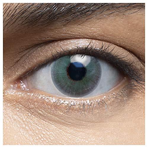 Sehr stark deckende und natürliche blaue Kontaktlinsen farbig ALOE GREEN + Behälter von LENSART - 1 Paar (2 Stück) - DIA 14.00 - ohne Stärke 0.00 Dioptrien