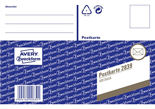 AVERY Zweckform 2839 Postkarte (DIN A6, vorgedruckt, 100 Karten) 1 Stück weiß