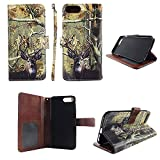Camo Tail Deer Wallet Folio Case for for iPhone 8 8s Plus Fashion Flip PU Leather Cover Card Cash Slots & Stand
