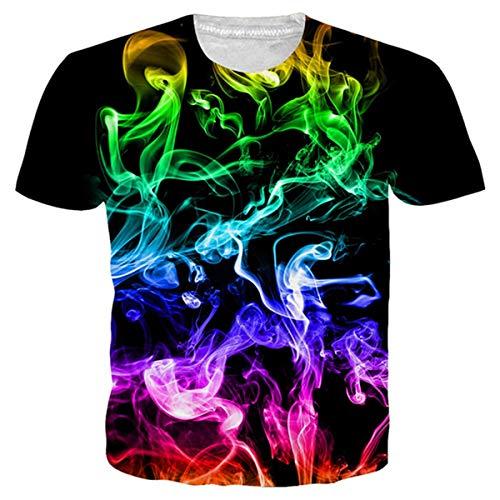 Idgeatim Damen Männer Universum T-Shirt Bunte Rauch 3D Print Kurzarm T-Shirts Galaxy Casual Top Tees
