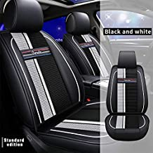 All Weather Custom Car Seat Covers for Peugeot Most Car Models 5-Seat Full Protection Ultra Comfort Black & White Full Set