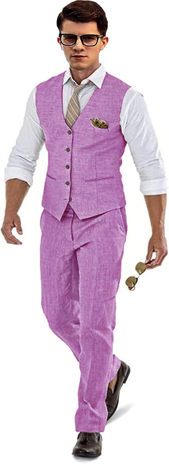 Linen Groom Tuxedos Summer Suit Set Pants Beach We for Max 86% OFF Vest Colorado Springs Mall Plum
