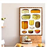 Hbdjns Decoración de la Pared de la Cocina Tipos de Carteles de Tabla de quesos Impresiones de Queso Vintage Wall Art Pictureposter-50x70cmx1 Sin Marco