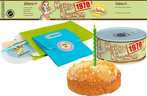 Happy Kuchen | Kuchen in der Dose | Personalisiert mit Wunsch- Geburtsjahr, Namen und Geschmack | Geburtstagsgeschenk | Geschenk | Geschenkidee (Zitronen-Streusel, Geburtsjahr 1970)
