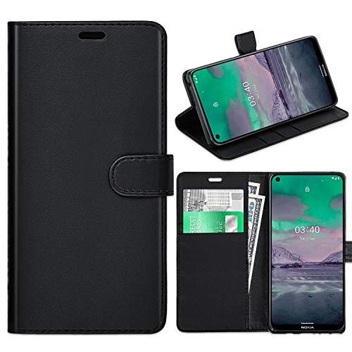 KP TECHNOLOGY Nokia 3.4 Hülle, Nokia 3.4 Lederhülle, Nokia 3.4 Buch-Klappetui aus Leder mit Kartenfächern für Nokia 3.4 [kompatibel mit Nokia 3.4 Bildschirmschutzfolie] (schwarz)