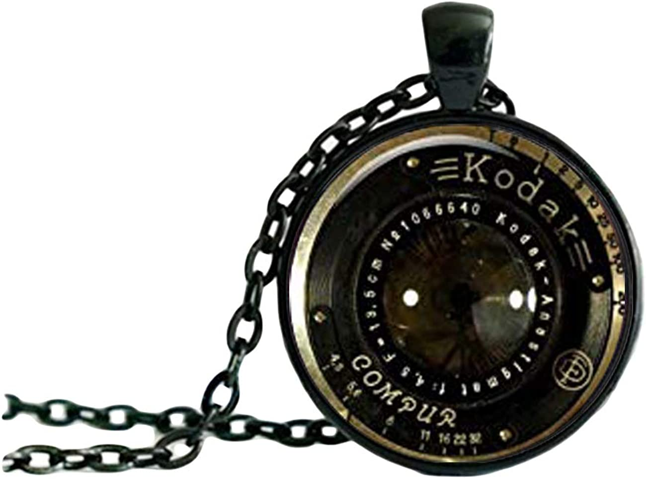 Vintage Camera Lens Charm Pendant Foto NECKLACE, Black Jewelery Charm Pendant