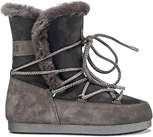 Moon Boot Womens Tecnica Far Side High Shearling Winter Faux Fur Boots - Anthracite - 3