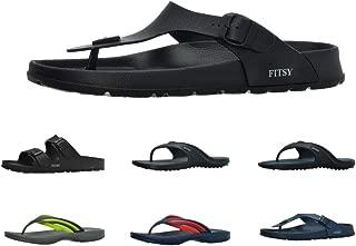 FITSY Thomas Men's Toe Post Flip-Flop Summer Holiday Indoor/Outdoor Shower Garden Anti-Slip Pool Thong Beach Sandals (US 9.5, EU 42, UK 9, Black, S)