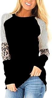 MUZBOO Camiseta de manga larga con cuello redondo y estampado de leopardo para mujer