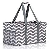Extra Large Utility Tote Bag - Oversized Collapsible Reusable Wire Frame Rectangular Canvas Basket With Two Exterior Pockets For Beach, Pool, Laundry, Car Trunk, Storage - Chevron Gray