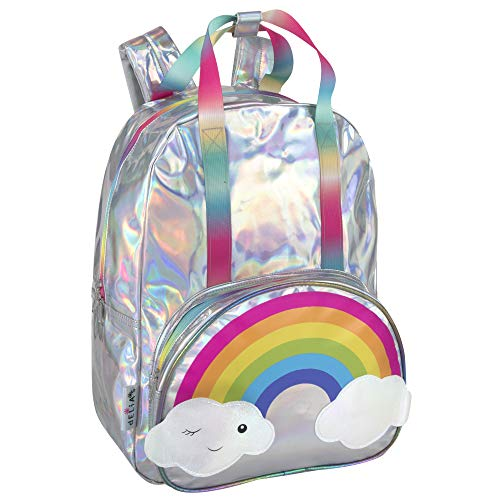 dELiAs Girls Middle School Girl Backpack – Rainbow Backpacks for Girls, Teens, School (Holographic Silver Rainbow)