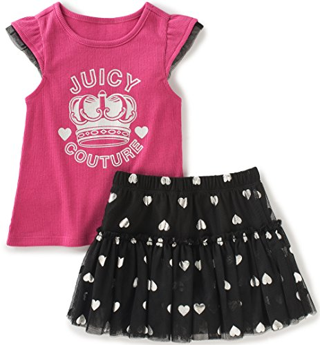Juicy Couture Baby Girls 2 Pieces Skirt Set, Pink, 12M