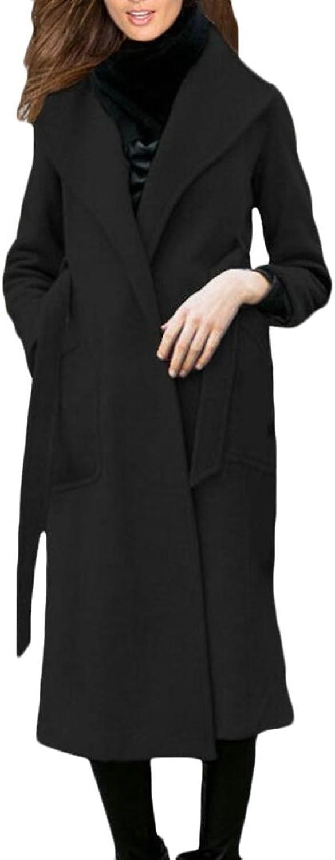 Alion Women's Winter Thicken Long Wool Trench Coat Jacket Peacoat with Belt