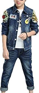 Qitun Denim De Dos Piezas para Niños Ocio Y Comodidad Patrón De Violín Chaqueta De Denim Estampada Y Jeans