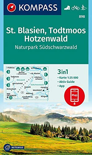 KOMPASS Wanderkarte St. Blasien, Todtmoos, Hotzenwald, Naturpark Südschwarzwald: 3in1 Wanderkarte 1:25000 mit Aktiv Guide inklusive Karte zur offline ... Langlaufen. (KOMPASS-Wanderkarten, Band 898)