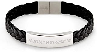 Custom Coordinate Men's Braided Leather ID Bracelet