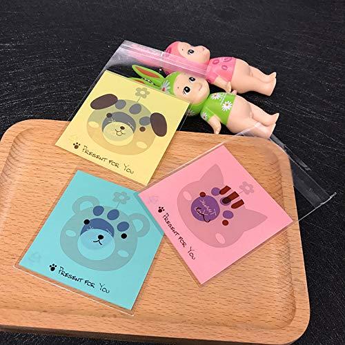 Bingpong 100 Stücke Nette Bärentatze Selbstklebende Süßigkeiten Cookie Verpackung Tasche Bäckerei Hochzeit Gunsten Geschenk Tasche (Rosa, 14*14cm+3cm)