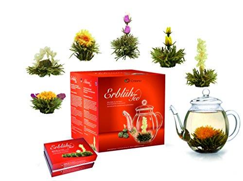 Creano Teeblumen Mix - Geschenkset Erblühtee Frühjahrslese mit Glaskanne Weißer Tee in...