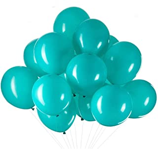 ZOOYOO 12 inch Turquoise Balloons Quality Latex Balloons Helium Balloons Party Decorations Supplies Pack of 50,3.2g/pcs