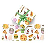 Gift Wrap Paper 3 Rolls, Pizza Pattern Love Food Wrapping Paper for Birthdays, Graduations, Father's Day, Baby Showers, Halloween, Christmas, 58x23 in Per Roll