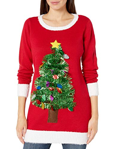 Blizzard Bay Women's Ugly Christmas Sweater, Red Tinsel Tree, Medium
