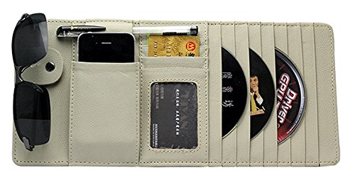 PANDA SUPERSTORE Auto Accessories DVD/CD Storage CD Visor Organizer 10-Pocket CD Holder Beige