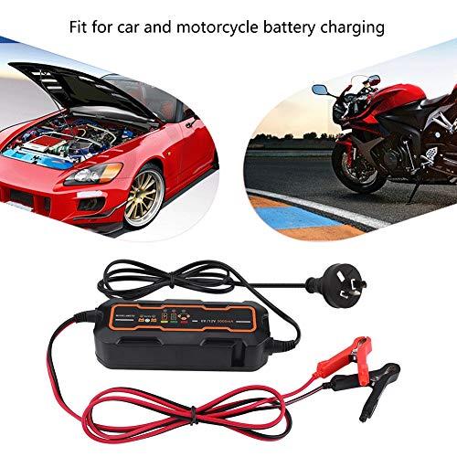 Caricabatteria Auto Moto DC 6V/12V 5A, Caricabatteria di Carica per Batteria al Piombo Acido, Automatico + Intelligente, con Indicatore LED + Clip a Coccodrillo, Lunghezza Totale da 3 m
