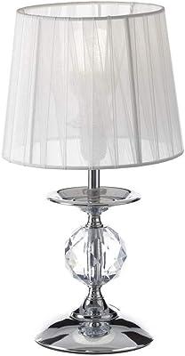 Lola Home - Lampada da Comodino, Moderna, in Metallo Argentato, per Camera da Letto, 17,5 x 17,5 x 31 cm