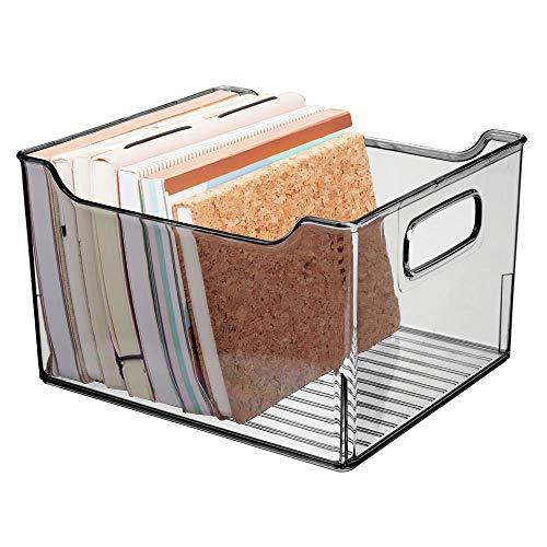 mDesign Caja de almacenaje con asas integradas – Contenedor transparente para utensilios de cocina y baño o material de oficina – Organizador de escritorio en plástico – gris humo