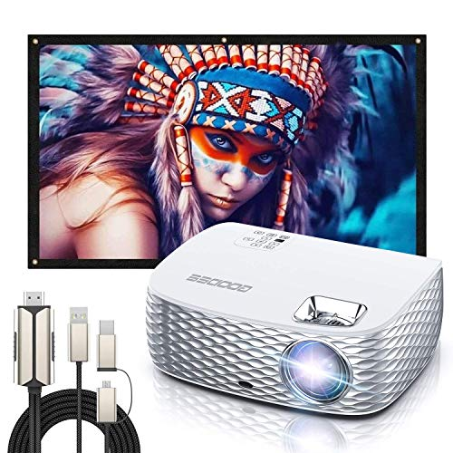Projector, GooDee BL98 Native 1080P HD Video Projector with 100 Inch Projector Screen+Phone to HDMI Cable, 4K HD 16: 9 Portable Video Widescreen Movies Screen for Home Theater