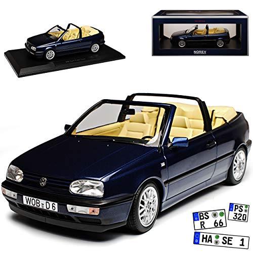 Norev Volkwagen Golf III Cabriolet Dunkel Blau Metallic 1991-1998 1/18 Modell Auto mit individiuellem Wunschkennzeichen